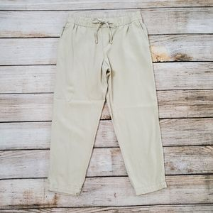 Old Navy Beige Tan Linen Blend Cropped Pants